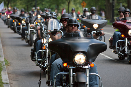 "Motorcycles travel in DC as part of the annual Rolling Thunder motorcycle ""Ride for Freedom� for American POWs and MIA soldiers on May 25, 2014 in Washington, DC. Editorial"