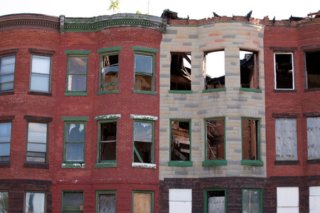 Abandoned areas in the city of Baltimore, many houses are vacant, damage and become ruins