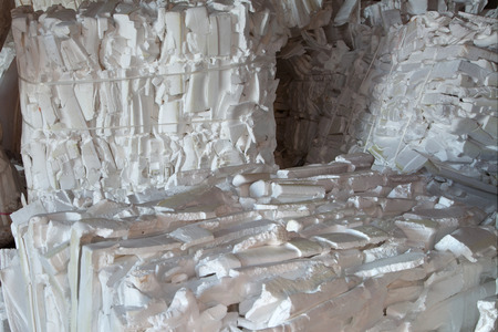 landfill site: Styrofoam packed in bales for recycling
