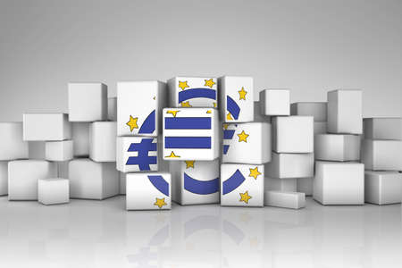 european money: European Central Bank symbol deconstructed  in chaotic cubes