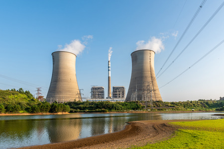 Cooling tower at nuclear power plant 版權商用圖片 - 115662511