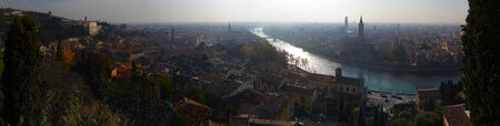 Panoramic view of the city of Verona in Italy.Sunset.Evening.