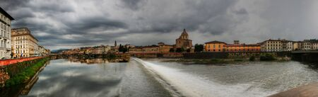 Panorama of the Arno River, Florence, Italy.Dam.