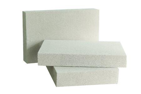 Lightweight construction brick isolated on white. Lightweight foamed gypsum block isolated on white