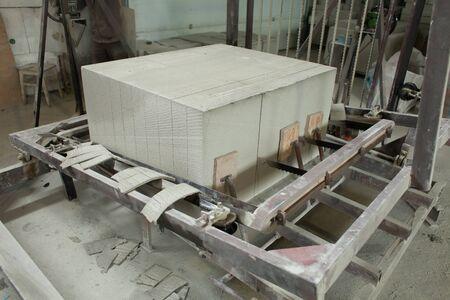 Foam concrete blocks production. Lightweight construction brick. Lightweight foamed gypsum block