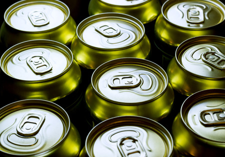 tilt views: a group of cans from the beverage Stock Photo