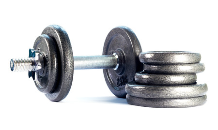 discs: Steel folding dumbbell and discs dumbbell isolated