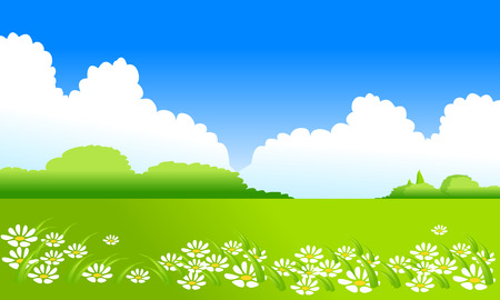 Green landscape and clouds on blue sky