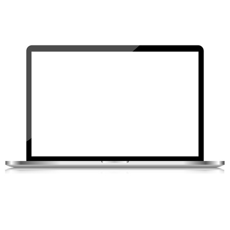 Laptop isolated on white screen computer vector Vector