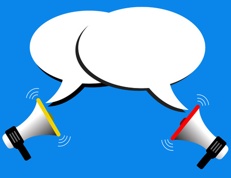 Megaphone vector and speech bubbles Vector