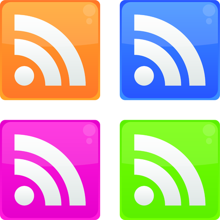 News feed symbol or RSS icons isolated on white background. You can use for website or mobile application. Vector