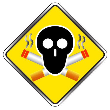 smoldering cigarette: No Smoking sign symbol icon vector illustration Illustration
