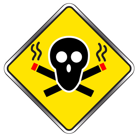 smoldering cigarette: No Smoking sign symbol vector