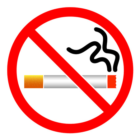 smoldering cigarette: No Smoking signs icon symbol vector isolated