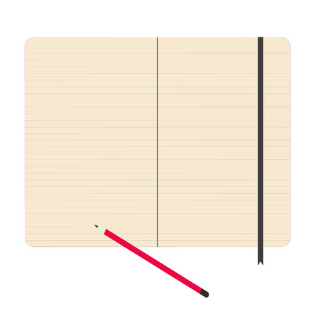 Notebook paper with pencil vector illustration Vector