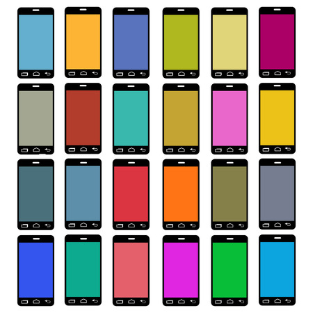Smartphone icons with colorful screen Vector