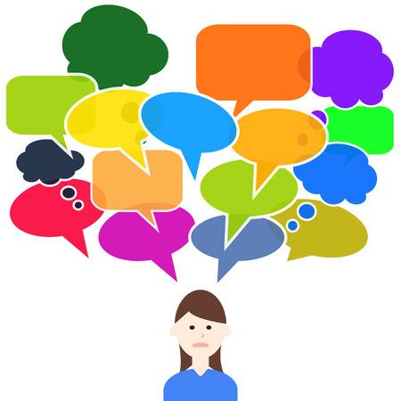 frau denken: Denkende Frau mit bunten Sprechblasen