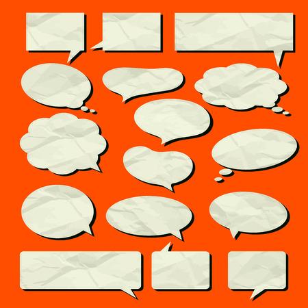 textura papel: Burbuja del discurso conjunto de vectores de papel viejo textura ilustraci�n Vectores