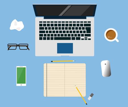 office cubicle: Workspace creative concept laptop vector flat design illustration on blue background