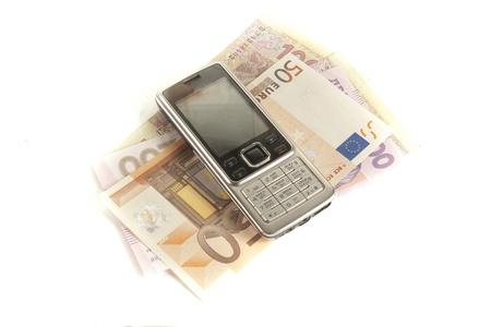 bankroll: handset  and  bankroll Stock Photo