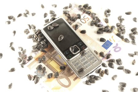 bankroll: handset  and  bankroll and sunflower