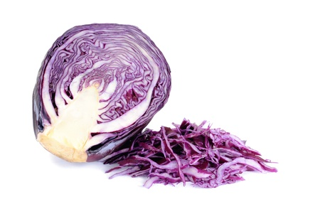 Sliced violet cabbage isolated on the white background