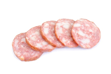 Meat product.Sausage isolated on white background Stock Photo - 9302169