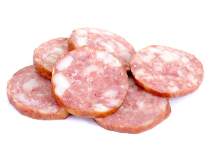 Meat product.Sausage isolated on white background Stock Photo - 9301878