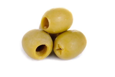 green pitted olives isolated on the white background