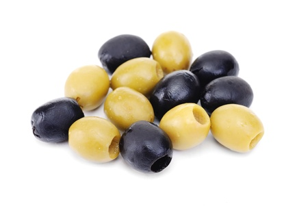 pitted: Some black pitted olives isolated on the white background
