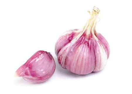 garlic   isolation  on white Stock Photo