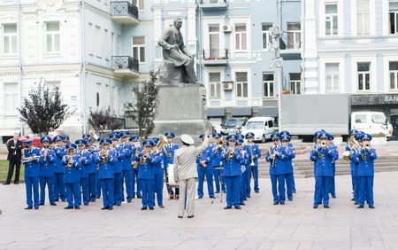 Kiev.Ukraine. 09.09.11 Military brass band played at the  ceremony.