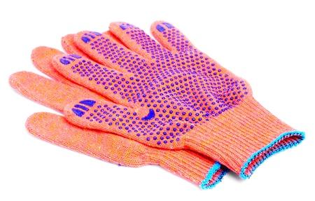 work gloves orange colour isolated on white background