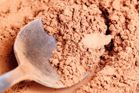 Cocoa  powder  and  steel  spoon