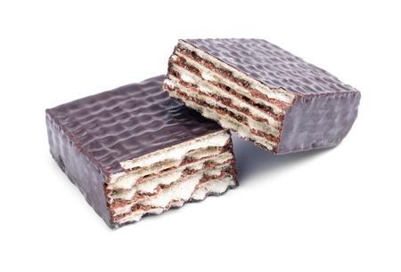 waffles: oblea de chocolate aisladas sobre un fondo blanco