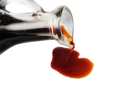 balsamic vinegar: soy sauce isolated on the white background Stock Photo