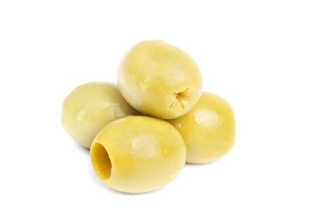 some  pitted olives isolated on the white background  Stock Photo
