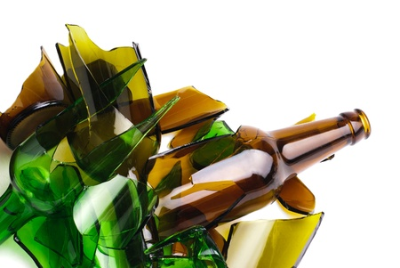 Waste glass Recycled Shattered green and brown bottle