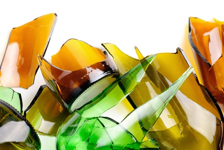 Waste glass.Recycled.Shattered green and brown bottle  Stock Photo