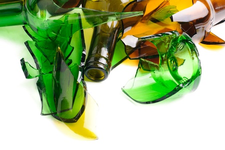 Waste glass Recycled Shattered green and brown bottle  photo
