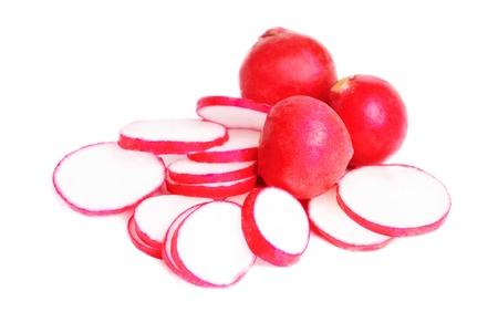 Fresh slised and whole radish isolated on white  Stock Photo - 13836074