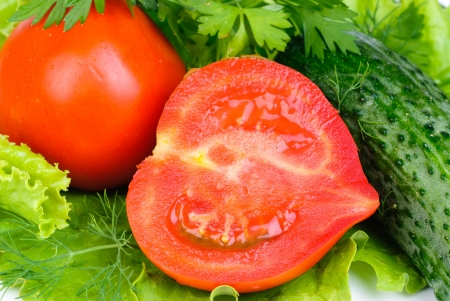 fresh vegetables (salad, cucumber, lettuce)  background photo