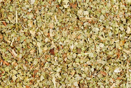 Dried marjoram spice  closeup as  food background Stock Photo