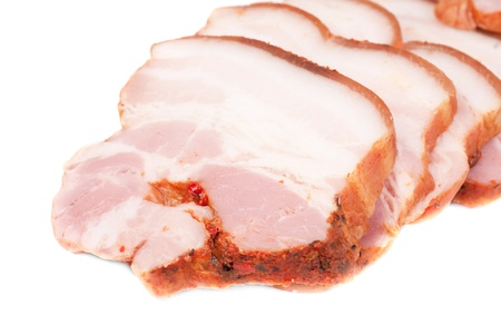 Bacon sliced isolated on a white background Stock Photo - 15819525