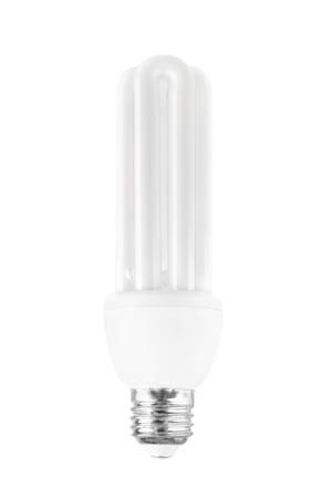 Energy saving light bulb on white bakground Stock Photo - 16052292