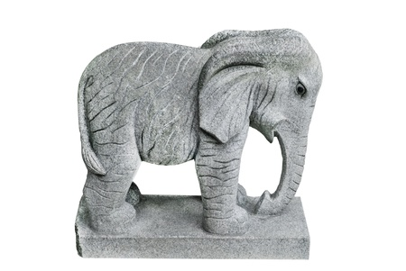 gray stone elephant statue isolated  on  white photo