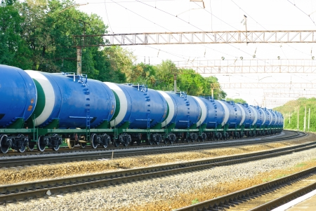 railroad tank car with oil
