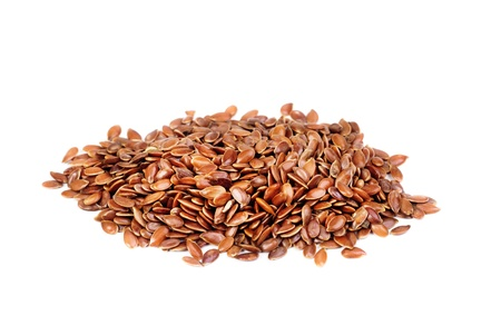 close up of flax seeds  isolated on  white background Stock Photo