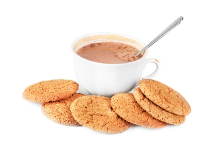 caf: Cocoa in a cup and oatmeal cookies isolated on a white