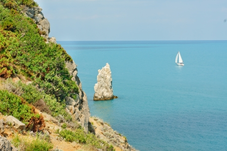 rocks and  ships in the sea near the Yalta  Crimea Ukraine photo